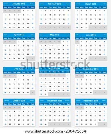 Vector Design Template Calendar 2015 Stock Vector 2018 230491654
