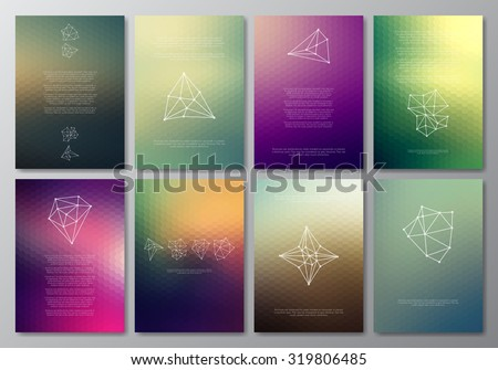 Vector design template collection for banner, flyer, placard, poster, greeting card, brochure. Abstract modern polygonal backgrounds. Set of patterns, vintage labels, logo. Retro Backgrounds. - stock vector