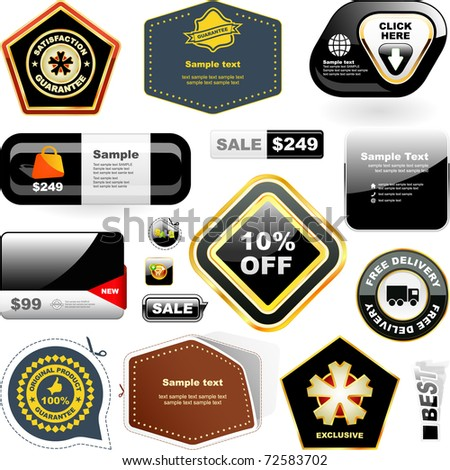 Vector design template for design. Bonus label and web buttons. Great collection. - stock vector