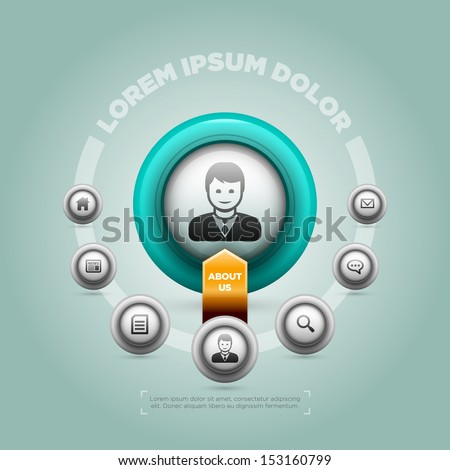 Vector design template for website, infographic etc. Elements are layered separately in vector file. - stock vector