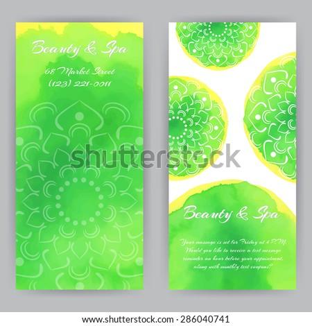 Vector Design Template Green Lotus Flowers Stock Vector - Rack card design template