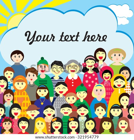 Vector design  template of  invitation, or greeting card,  ad and other. A crowd of happy people (may be this is a collectivity of school, camp, adoptive family, spectators) on a sky background - stock vector