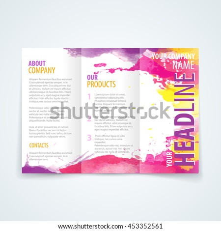 Vector design template trifold brochure colorful stock for Colorful brochure templates