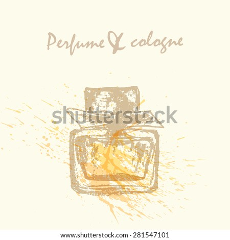 Vector design template. Rough sketch of perfume bottle in pastel colors on neutral background with watercolor splash.  - stock vector