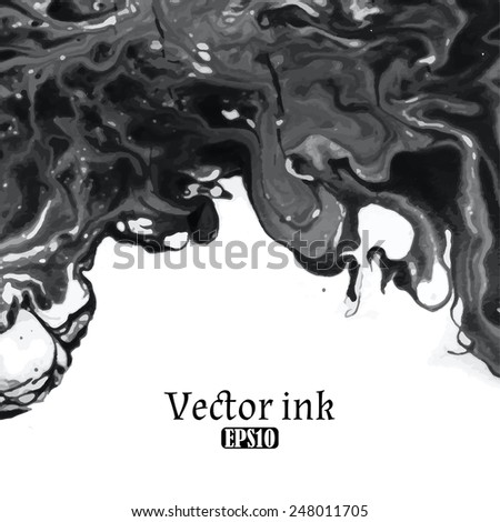 Vector design template with abstract black  paint strokes, splashes and swirls on white background  for cards, banners, flyers - stock vector