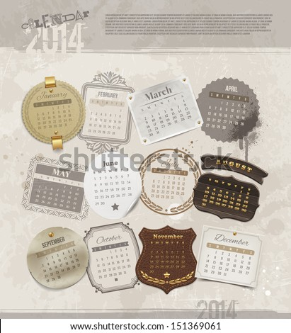 Vector design template with grunge vintage calendar of 2014 - different frames and labels for each month - stock vector