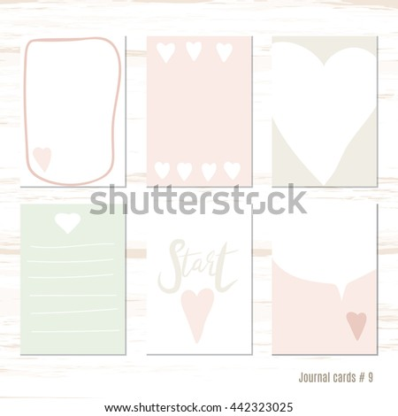 Vector design templates for journal cards, scrapbooking , greeting , gift , patterns, blogging.  Cute doodle. Printable templates set. heart - stock vector