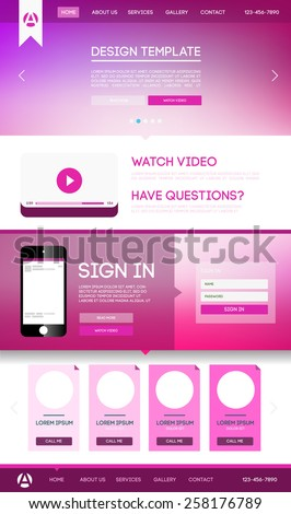 Vector design website theme template. Landing web page layout with blurred background. - stock vector