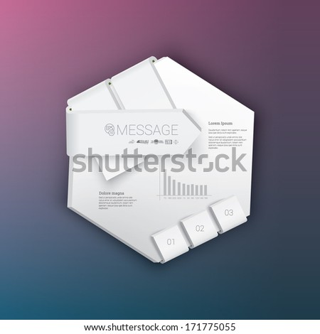 Vector design. White - blank edition of a hexagon shaped banner or textbox template. Abstract minimal geometric 3d eps10 origami illustration for web, brochure, print, infographics or other medium.  - stock vector
