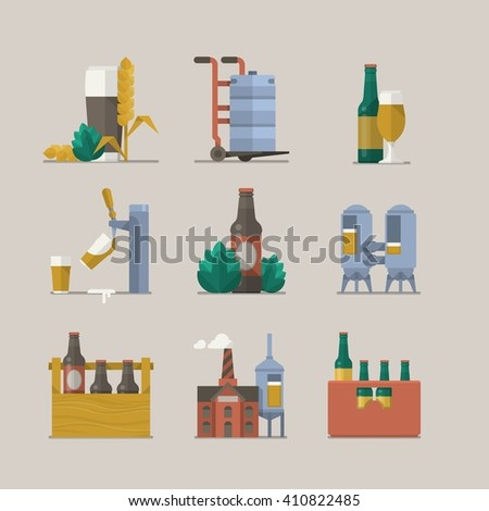 vector design with beer elements, illustrated icons