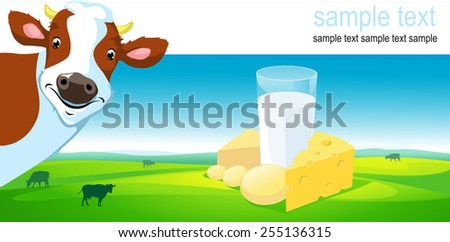 vector design with cow, cheese milk and farmland - stock vector