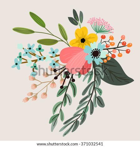 Vector design with hand drawn herbs and flowers. Decorative botanical background
