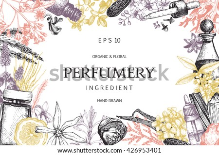 Vector design with hand drawn perfumery and cosmetics ingredients. Decorative background with vintage aromatic plants for perfumery - stock vector