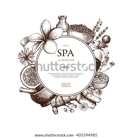 Vector design with hand drawn Spa illustration isolated on white. Beauty sketch background with natural cosmetics. Vintage template with exotic and herbal elements. - stock vector