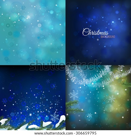 Vector designers set with beautiful seasonal winter backgrounds. Abstract backdrops useful for making postcards, Christmas invitations, posters and other Xmas, New Year and winter designs. - stock vector