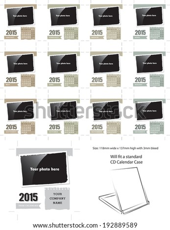 Vector Desk Calendar Template 2015.  Simply add your own photos and company name and it is ready for printing. - stock vector