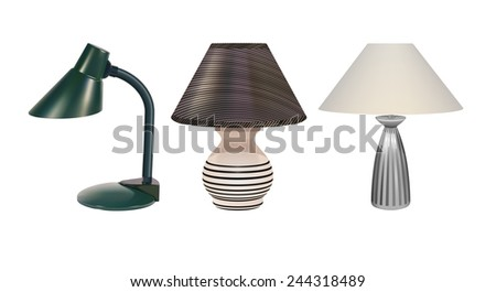 Vector Desk Lamps on White Background, Eps10, Gradient Mesh and Transparency Used, Raster Version Available - stock vector