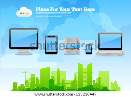 Vector desktop wallpaper or placard background with eco city skyline on cloudy sky, 3d high-detailed computer devices with reflections and place for text. Image contains transparency, 10 EPS - stock vector