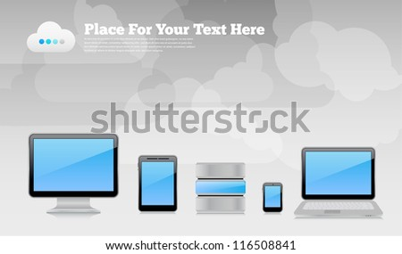 Vector desktop wallpaper or placard background with gray cloudy sky, 3d high-detailed computer devices with reflections and place for text. Image contains transparency, 10 EPS