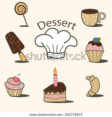 Vector dessert icon set