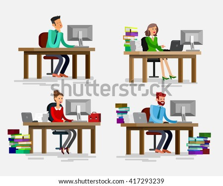 Vector detailed character corporate business team people  sitting behind desk. Office worker. Men and women, cool flat  illustration. Vector business Office worker character
