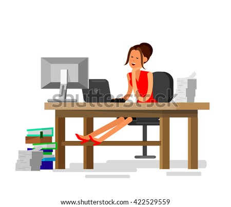 Vector detailed character corporate business worker sitting behind desk and dream about vacation. Office worker sleeps at work. Cool flat  illustration. Vector business Office worker character  - stock vector