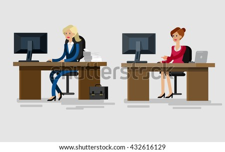 corporate office desk. vector detailed character corporate office worker business team people sitting behind desk