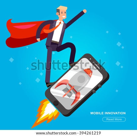 Vector detailed character fly on the smartphone as rocket, startup . Mobile innovation, app construction site,  user interface building process, coding for phone application and development - stock vector