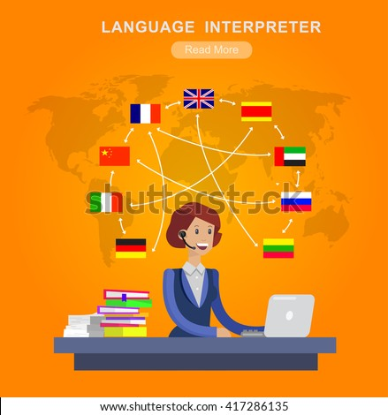 Vector detailed character Language translator concept with Language translator woman and world map with flags of world languages, Language translator  illustration. Vector Language translator - stock vector
