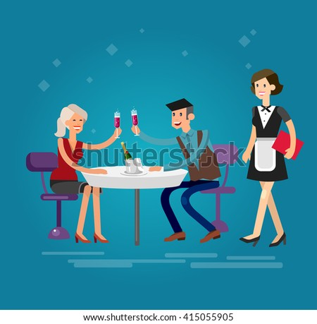 Vector detailed character people in the restaurant, service for public and personnel, couple celebrating in restaurant, waiter serves guests. Vector illustration