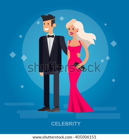 Vector detailed character rich and beautiful celebrities, man in tails and blond woman in evening dress  Flat style vector illustration  - stock vector