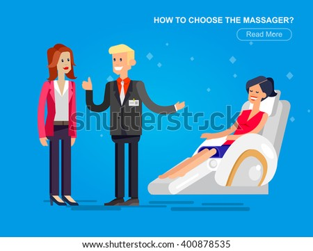 Vector detailed character seller man sells massage chair. Woman buy massager and relax, cool flat  illustration - stock vector