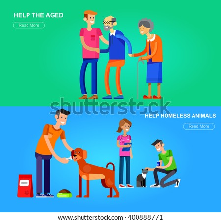 Vector detailed character Volunteer design concept with woman and a man helping elderly people, veterinary care for homeless animals, feed dog and cat - stock vector