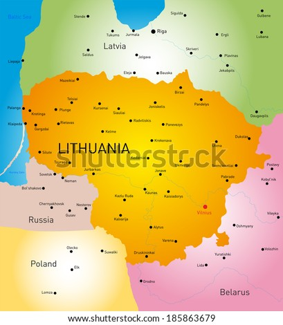 vector detailed  color map of Lithuania country