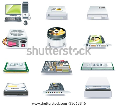 Vector detailed computer parts icon set. Part 1 of 5 - stock vector