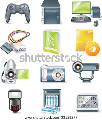 Vector detailed computer parts icon set. Part 5 of 5 - stock vector
