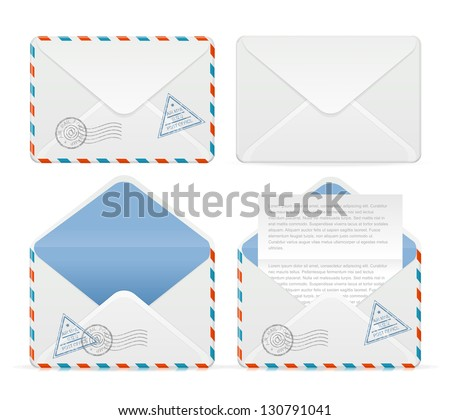 Vector detailed envelope icon set - stock vector