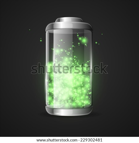 Vector detailed glossy battery full level with lighting green - stock vector