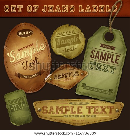 Vector detailed jeans tags - stock vector