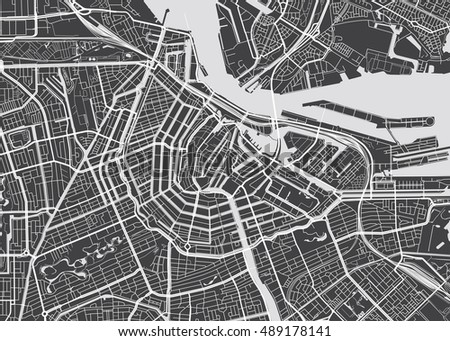 Vector detailed map Amsterdam