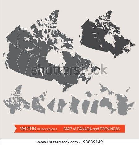 Vector detailed map of canada and provinces - stock vector