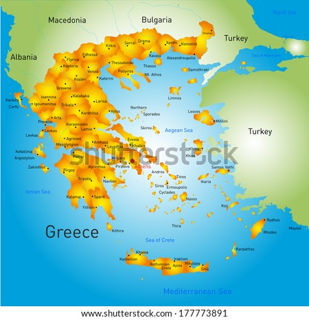 Vector detailed map of Greece country - stock vector