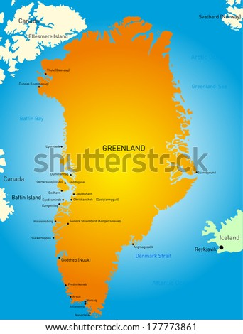 Vector detailed map of greenland map - stock vector