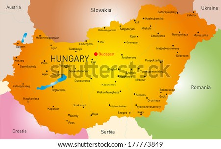 Vector detailed map of Hungary country