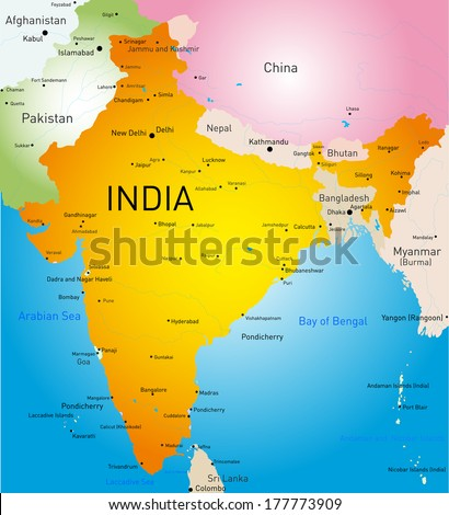 Vector detailed map of India country - stock vector