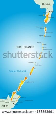 Vector detailed map of Kuril island - stock vector