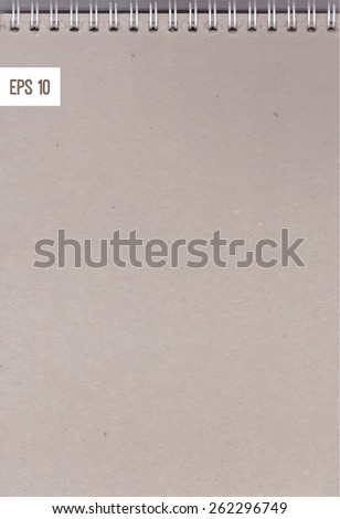 Vector detailed realistic background - a sheet of notebook on a spring craft paper texture - stock vector