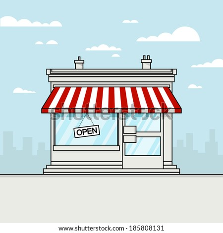 Vector Detailed Shop, Market, Store, Cafe, Barbershop, Grocery Illustration, Icon With stroke, Outline Effect. Isolated On Cityscape Background.  - stock vector