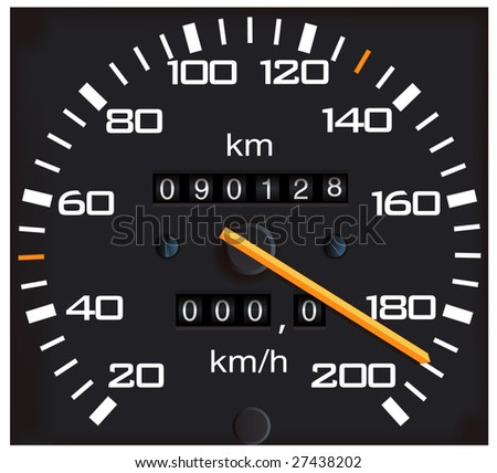 vector detailed speedometer, easy for edit - stock vector
