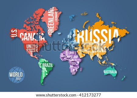 Vector Detailed World Map Borders Country Stock Vector - Word map with country name